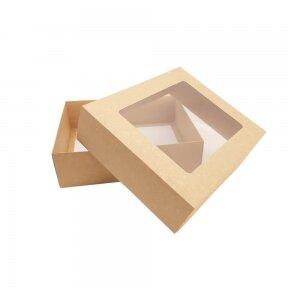 Dėžutė 210x210x60, dviejų dalių su langeliu, ruda