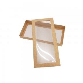 Dėžutė 280x130x35, dviejų dalių su langeliu, ruda