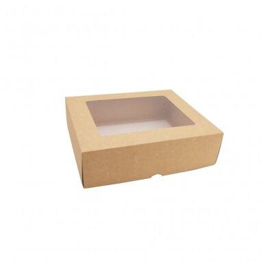 Dėžutė 210x210x60, dviejų dalių su langeliu, ruda 2