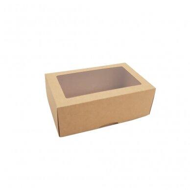 Dėžutė 220x140x80, dviejų dalių su langeliu, ruda 2