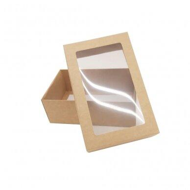 Dėžutė 220x140x80, dviejų dalių su langeliu, ruda