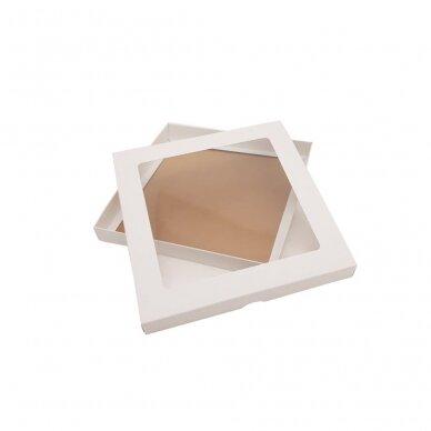 Dėžutė 260x260x30, dviejų dalių su langeliu, balta