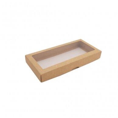 Dėžutė 280x130x35, dviejų dalių su langeliu, ruda 2
