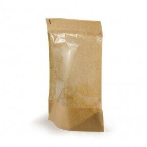 Doy pack popieriniai maišeliai su langeliu 85x50x145 (100 ml)