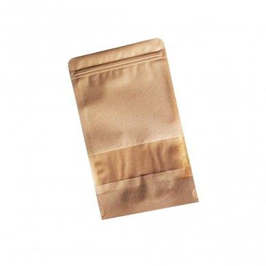 Doy pack popieriniai maišeliai su langeliu 160x80x270 (750 ml)