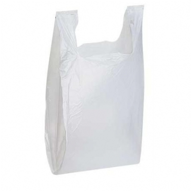 Plastikiniai maišeliai su rankenomis 400x100x650, balti