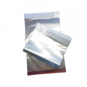 Pakabinami skaidrūs maišeliai su lipnia juostele PP 250x350+35mm
