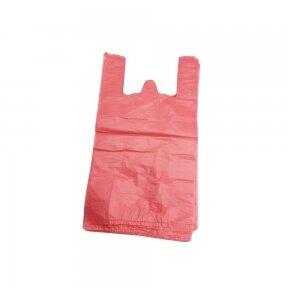Plastikiniai maišeliai su rankenomis 240x60x450, raudoni
