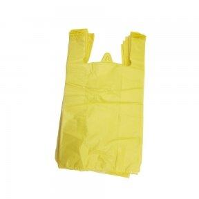Plastikiniai maišeliai su rankenomis 300x80x550, geltoni