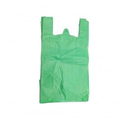 Plastikiniai maišeliai su rankenomis 240x60x450, žali
