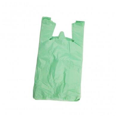 Plastikiniai maišeliai su rankenomis 300x80x550, žali