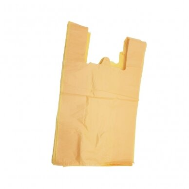 Plastikiniai maišeliai su rankenomis 350x100x600, oranžiniai