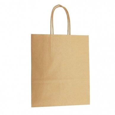 Popieriniai maišeliai su rankenėlėmis 260x120x350, rudi 2