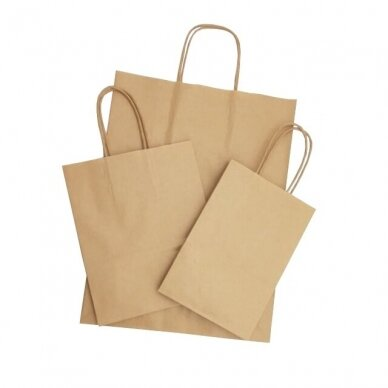 Popieriniai maišeliai su rankenėlėmis 305x170x340, rudi