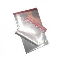 Skaidrūs maišeliai su lipnia juostele 200x250+50mm
