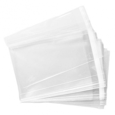 Skaidrūs maišeliai su lipnia juostele 90x120+30mm